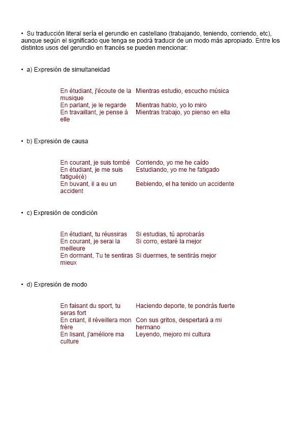 Expresiones con gerundio en franc s ejemplos for En y frances ejercicios